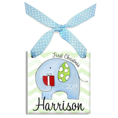 1st Christmas Elephant Ornament (Boy)-Ceramic Ornament-Little Worm & Co-Jack and Jill Boutique