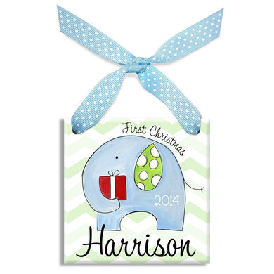1st Christmas Elephant Ornament (Boy)