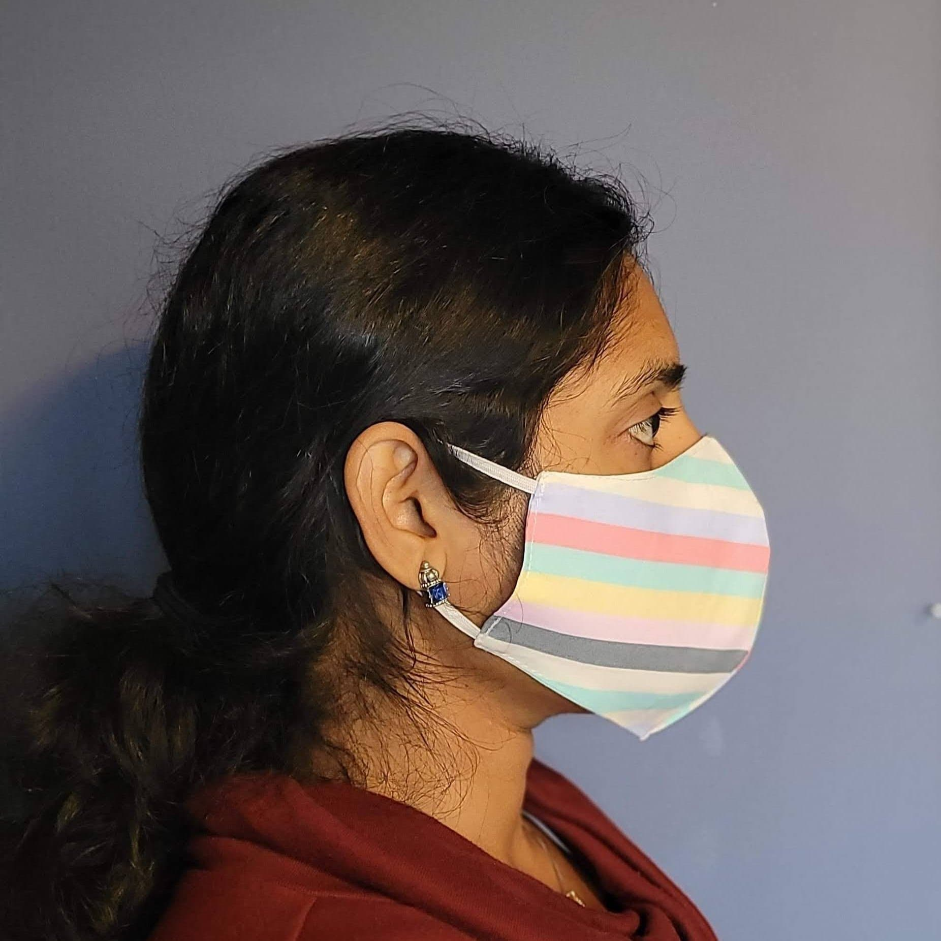 Striped Multi Color Two Layer Washable Face Masks-Face Mask-Jack and Jill Boutique