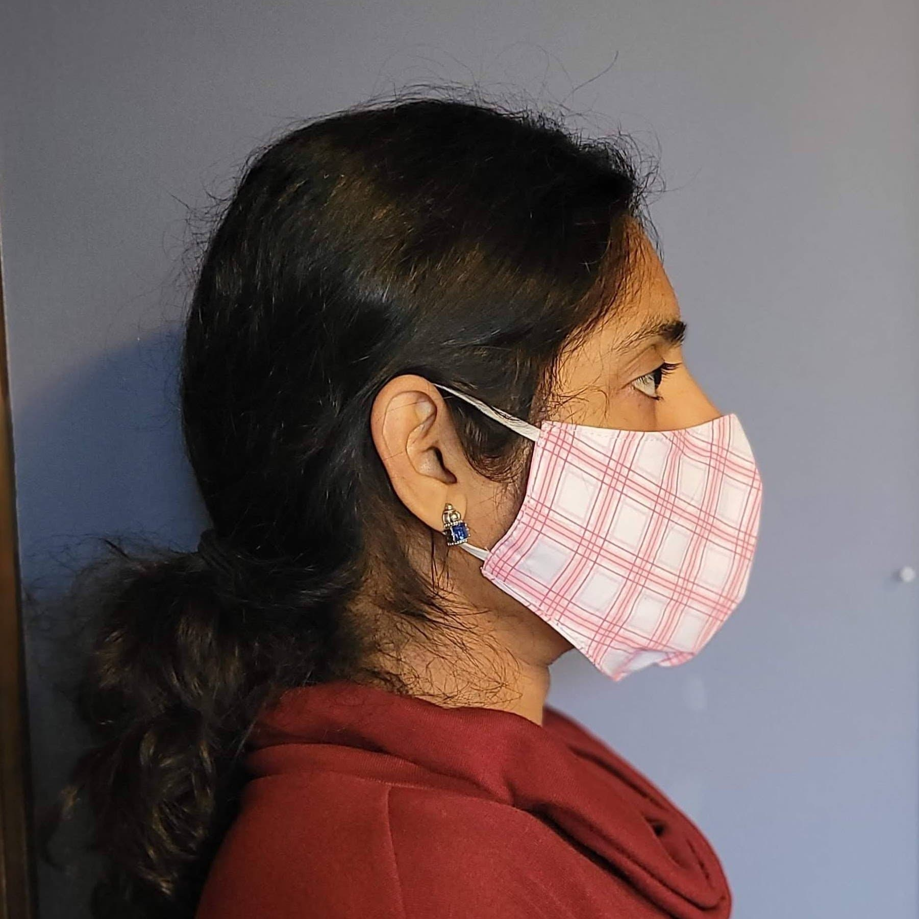 Pink Checkered Two Layer Washable Cotton Face Mask-Face Mask-Jack and Jill Boutique