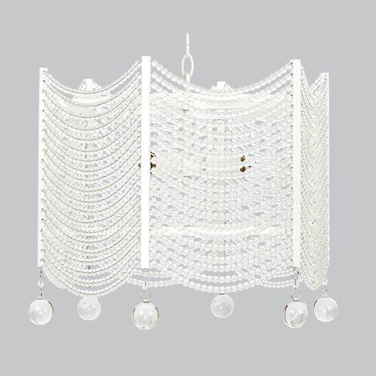 3 Light Crystal Swag Chandelier - White-Chandeliers-Default-Jack and Jill Boutique