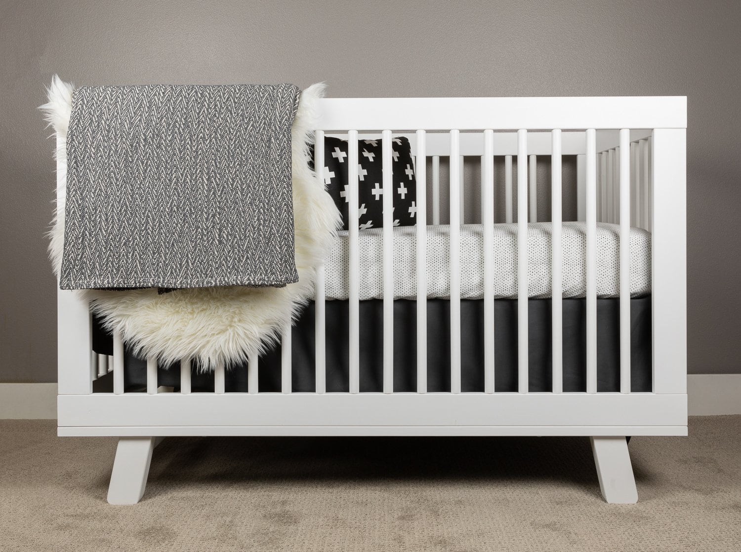 Hearts Crib Bedding Set Black on White-Crib Bedding Set-Jack and Jill Boutique