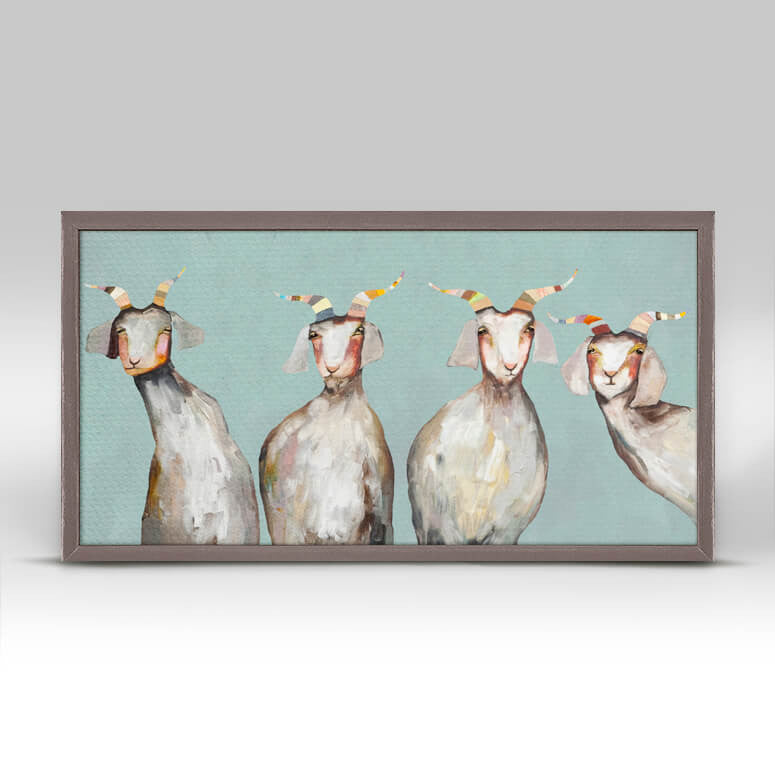 4 Goats on Soft Blue - Mini Framed Canvas-Mini Framed Canvas-Jack and Jill Boutique
