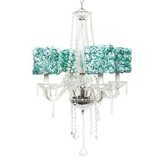 4 Light Glass Middleton Chandelier with Turquoise Rose Garden Shades-Chandeliers-Default-Jack and Jill Boutique