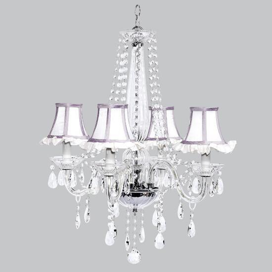 4 Light Middleton Chandelier with White Ruffled Shades and Lavender Trim-Chandeliers-Default-Jack and Jill Boutique