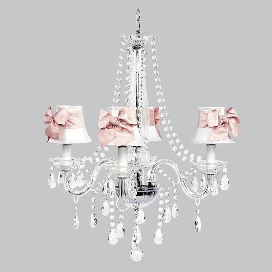 4 Light Middleton Chandelier with White Shades and Pink Bow Sashes-Chandeliers-Default-Jack and Jill Boutique