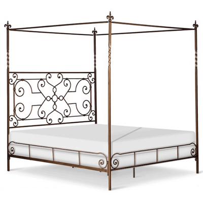 Corsican Iron Canopy Bed 41782 | Straight Canopy Bed with Scrolls