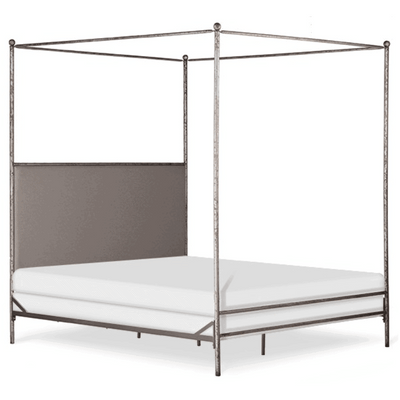 Corsican Iron Canopy Bed 43058 | Straight Canopy Bed with Upholstered Headboard Panel