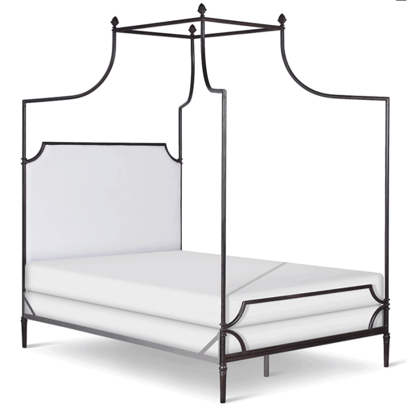 Corsican Iron Canopy Bed 43116 | Olivia Canopy Bed with Upholstered Headboard-Canopy Bed-Jack and Jill Boutique