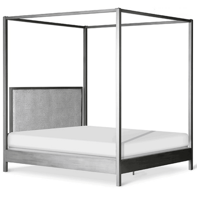 Corsican Iron Canopy Bed 43646 | Straight Square Post Canopy Bed with Upholstered Panel Headboard
