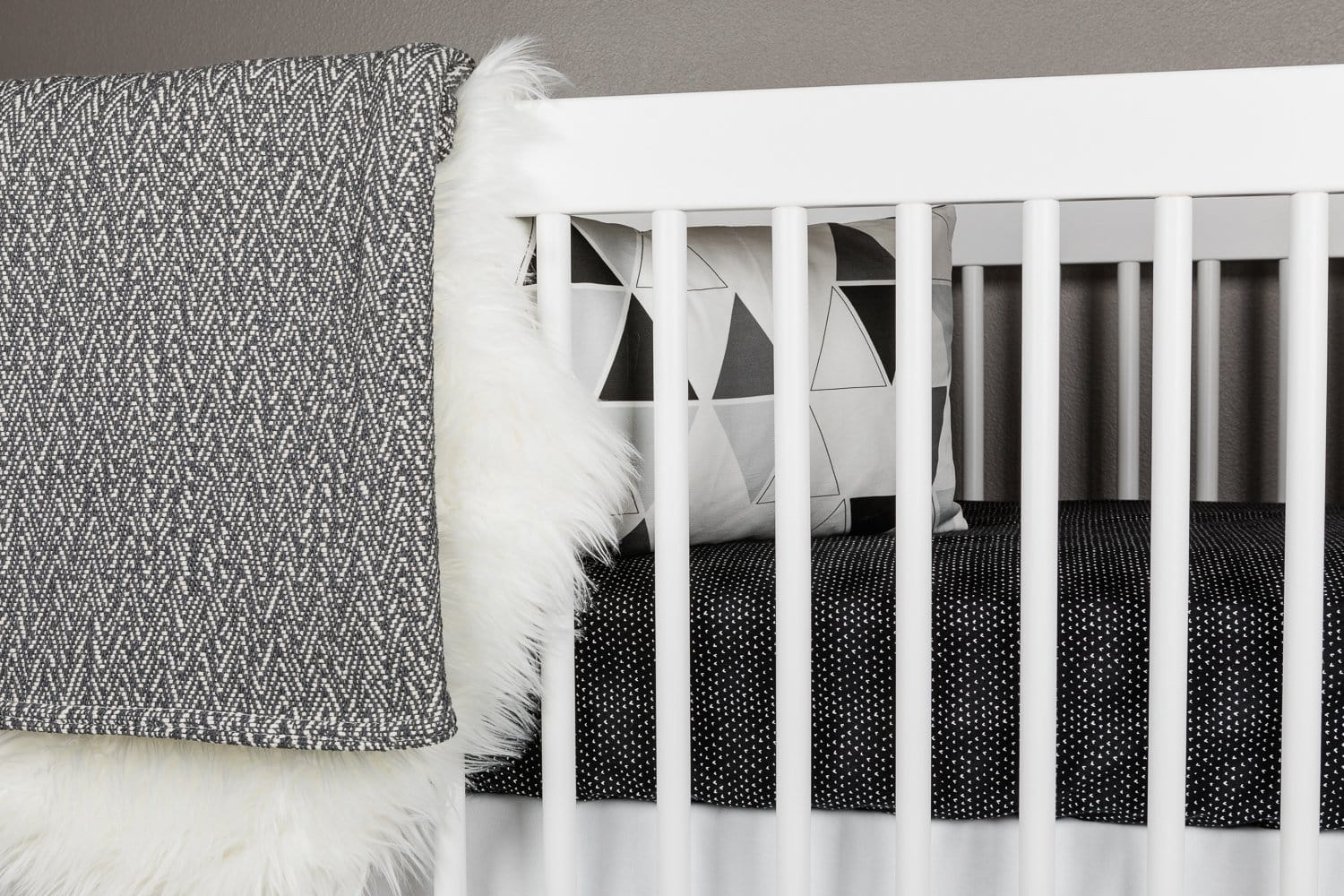 Hearts Crib Bedding Set White on Black-Crib Bedding Set-Jack and Jill Boutique