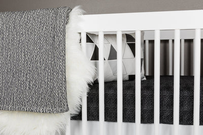Hearts Crib Bedding Set White on Black