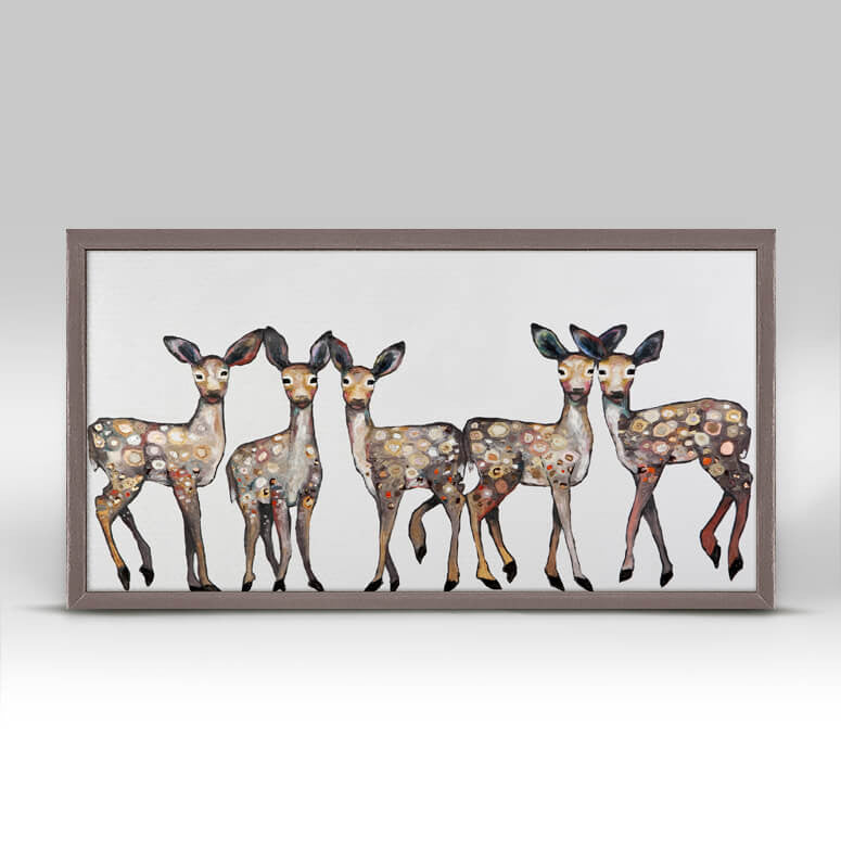 5 Dancing Fawns - Mini Framed Canvas-Mini Framed Canvas-Jack and Jill Boutique