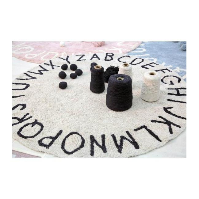 Round ABC Machine Washable Rugs - 5 Feet - Cotton