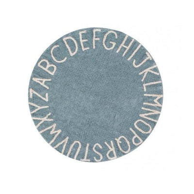 Round ABC Machine Washable Rugs - 5 Feet - Cotton-Rugs-Vintage Blue-Natural-Jack and Jill Boutique