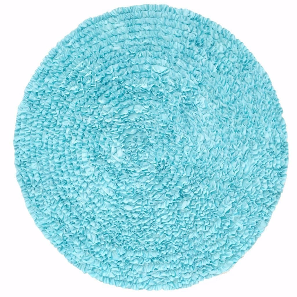 5 Ft Round Aqua Ruffle Rug - Nursery Rugs Clearance-Rugs-Jack and Jill Boutique
