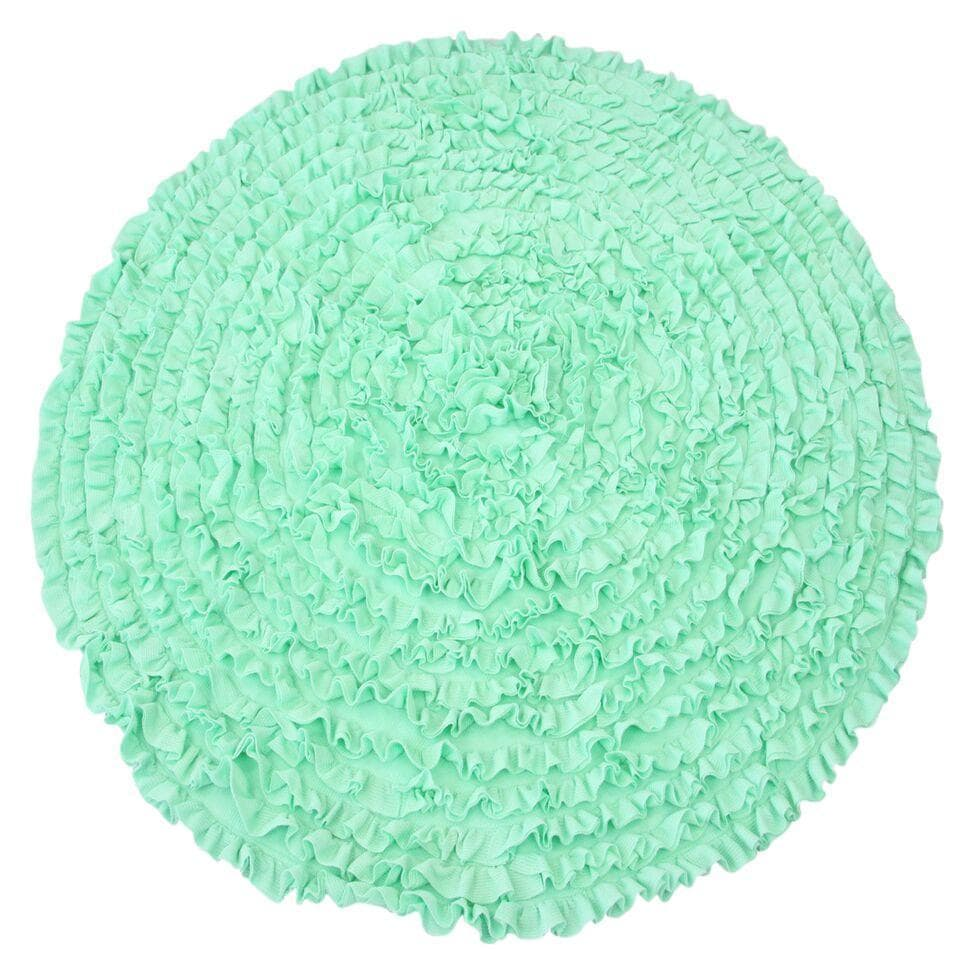5 Ft Round Mint Ruffle Rug - Nursery Rugs Clearance-Rugs-Jack and Jill Boutique