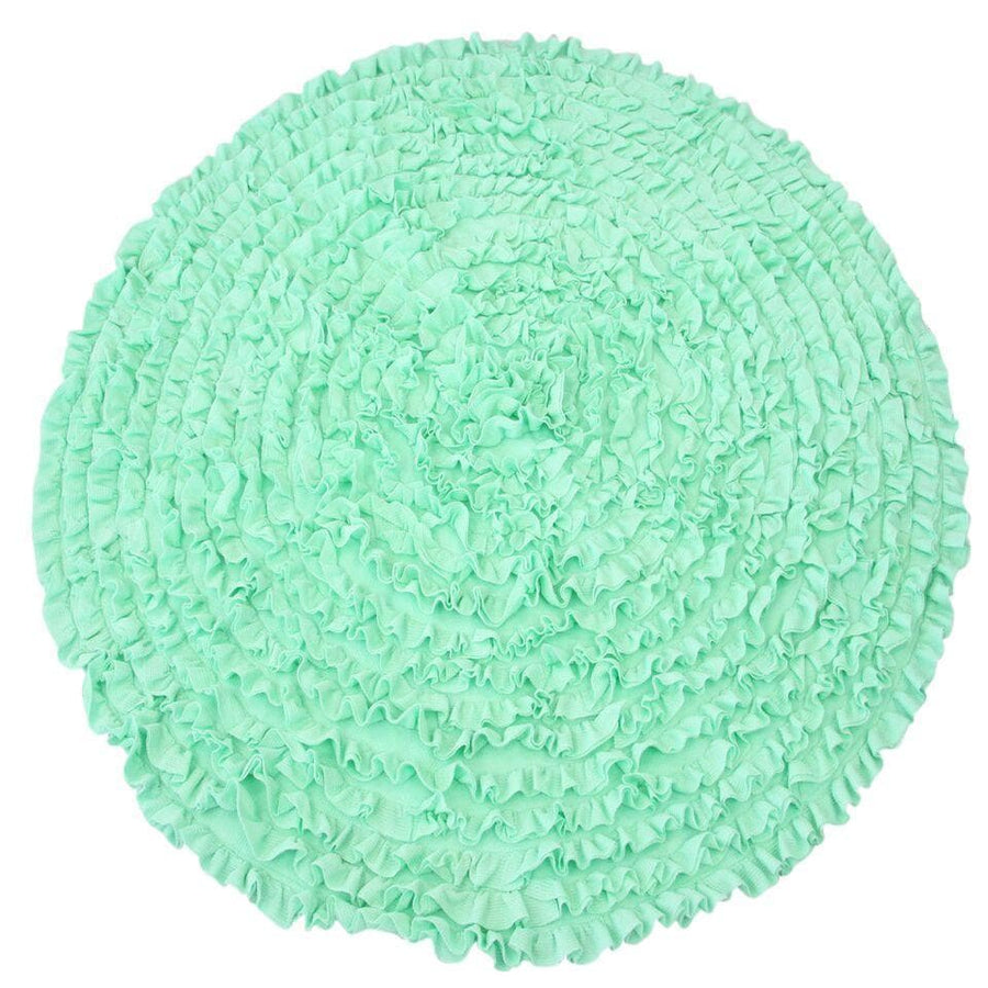 Rugs-Jack and Jill Boutique-5 Ft Round Mint Ruffle Rug - Nursery Rugs