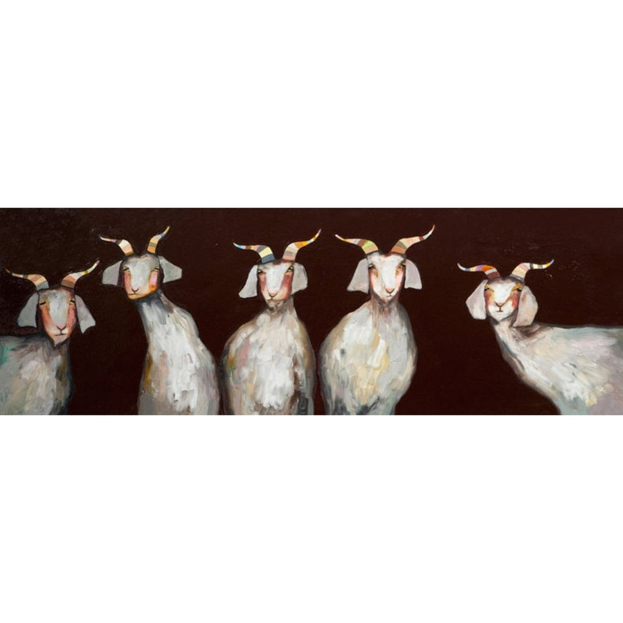 5 Goats on Chocolate Brown | Canvas Wall Art