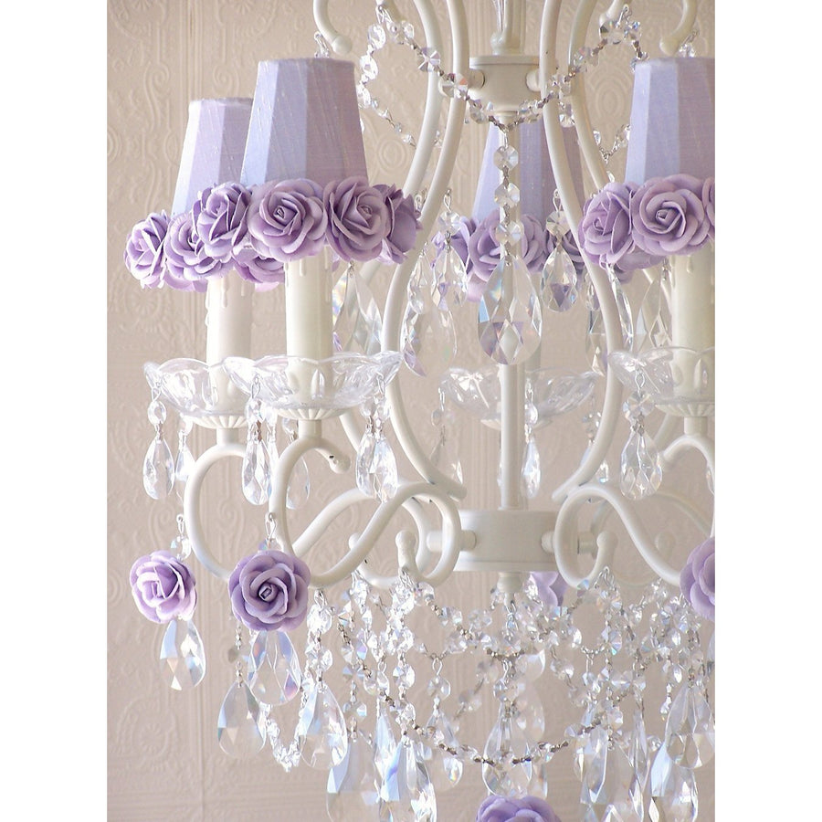 5-Light Antique White Chandelier with Lavender Rose Shades