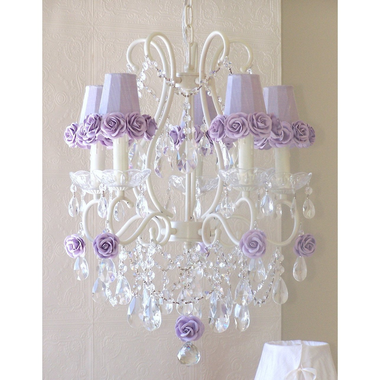 5-Light Antique White Chandelier with Lavender Rose Shades-Chandeliers-Default-Jack and Jill Boutique