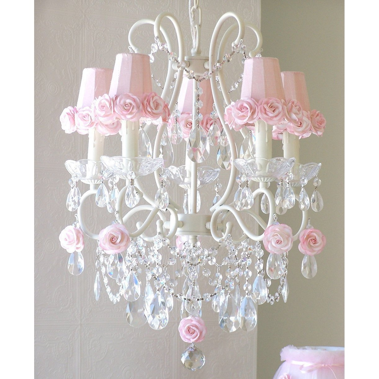 5-Light Antique White Chandelier with Pink Rose Shades-Chandeliers-Chandelier Only-Jack and Jill Boutique