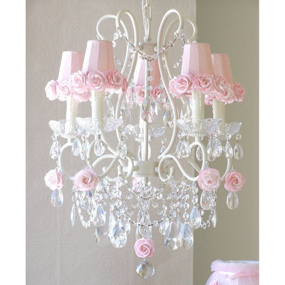 5-Light Antique White Chandelier with Pink Rose Shades-Chandeliers-Default-Jack and Jill Boutique