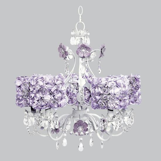 5 Light Flower Garden Chandelier with Lavender Rose Garden Drum Shades-Chandeliers-Default-Jack and Jill Boutique