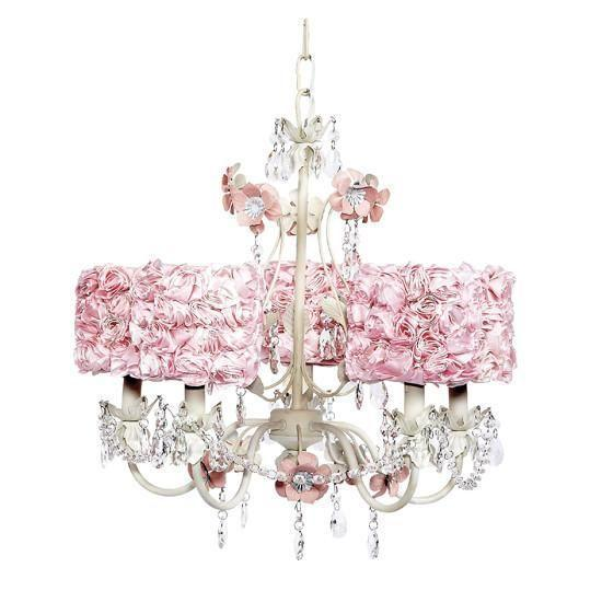 5 Light Flower Garden Chandelier with Pink Rose Garden Drum Shades-Chandeliers-Default-Jack and Jill Boutique