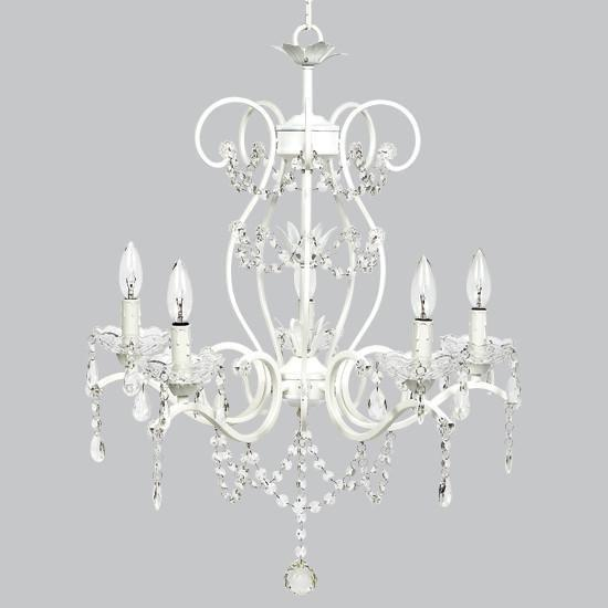5 Light Grace Chandelier - White