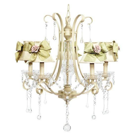 5 Light Ivory Colleen Chandelier with Ivory Shades, Sage Green Sash & Lt Pink Rose Magnet-Chandeliers-Default-Jack and Jill Boutique