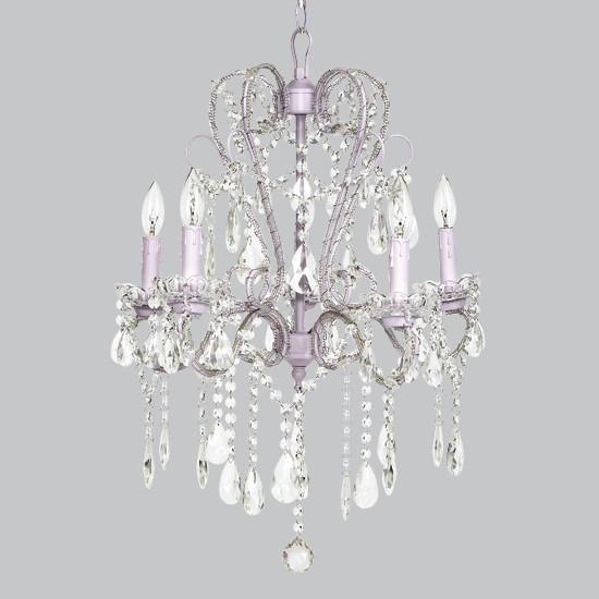 5 Light Whimsical Beaded Chandelier - Lavender
