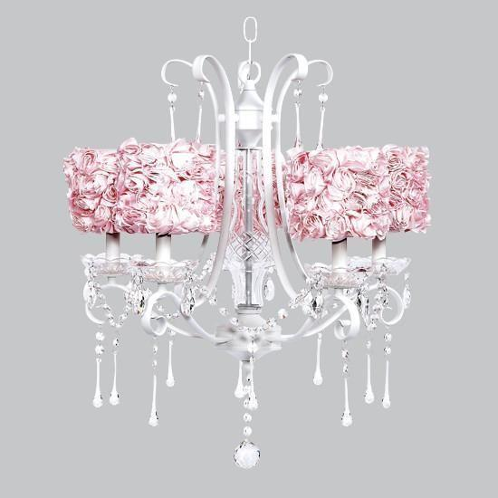 5 Light White Colleen Chandelier with Pink Rose Garden Drum Shades-Chandeliers-Default-Jack and Jill Boutique