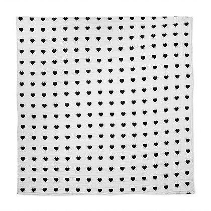 Organic Cotton Muslin Swaddle - Hearts Blanket