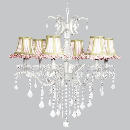 6 Light Glitz Chandelier with Pink & White Striped Ruffled Shades and Sage Green Trim