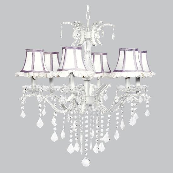 6 Light Glitz Chandelier with White Ruffled Shades and Lavender Trim