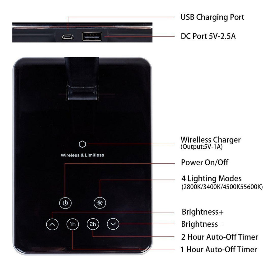 LED Desk Lamp with Qi-Enabled Wireless Charger, USB Charging Port, 2 Color Temperatures & 8 Brightness Levels, 1 Hour Timer