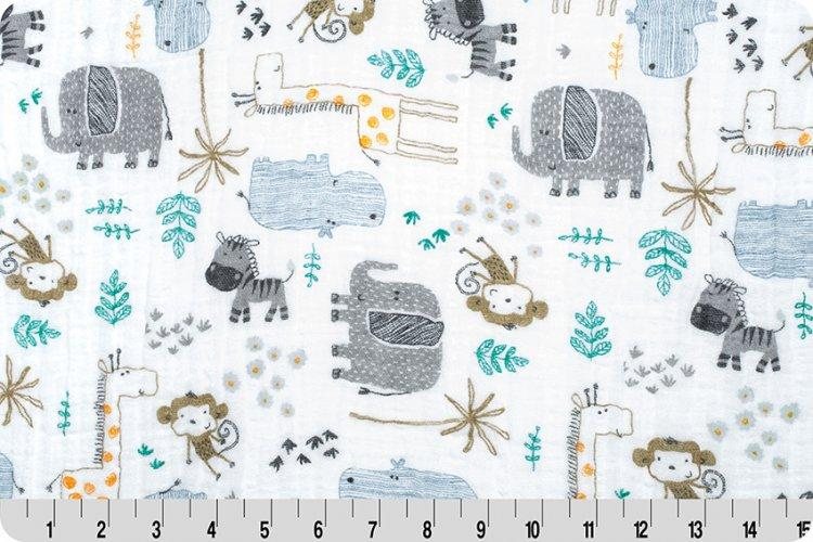 Zoo Escape Embrace® Steel | Double Gauze Cotton-Fabric-Jack and Jill Boutique