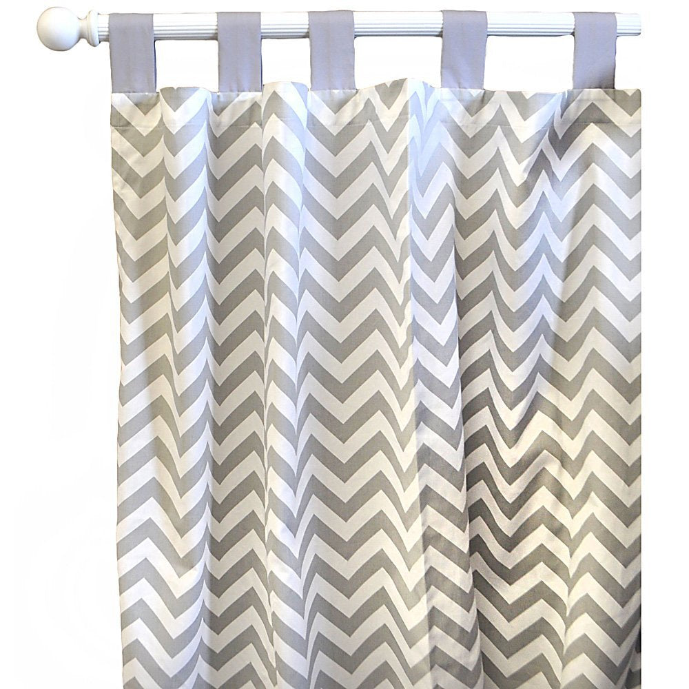 Curtain Panels-Jack and Jill Boutique-Curtain Panels | Gray Chevron Zig Zag Baby