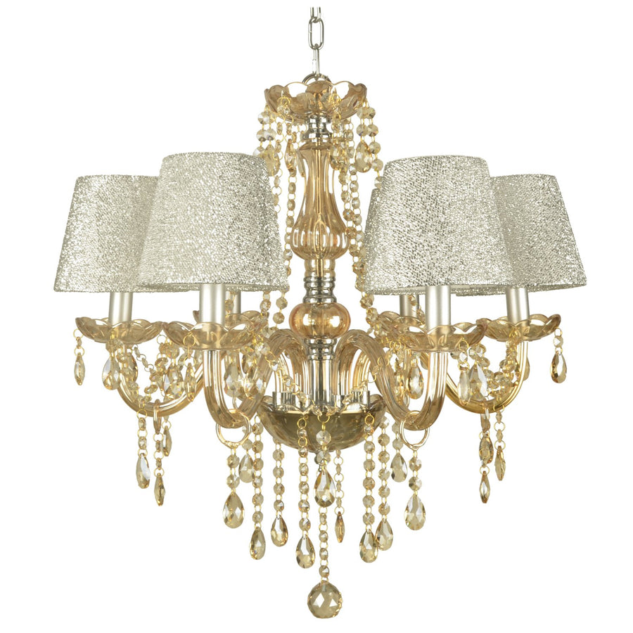 Amber and Chrome Glitz Chandelier - 6 Light - Beaded with Glass Center