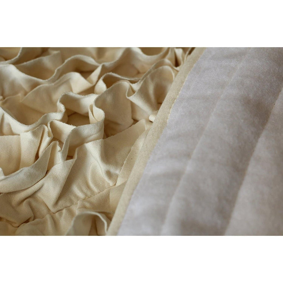5 Ft Round Beige Ruffle Rug - Nursery Rugs-Rugs-Jack and Jill Boutique
