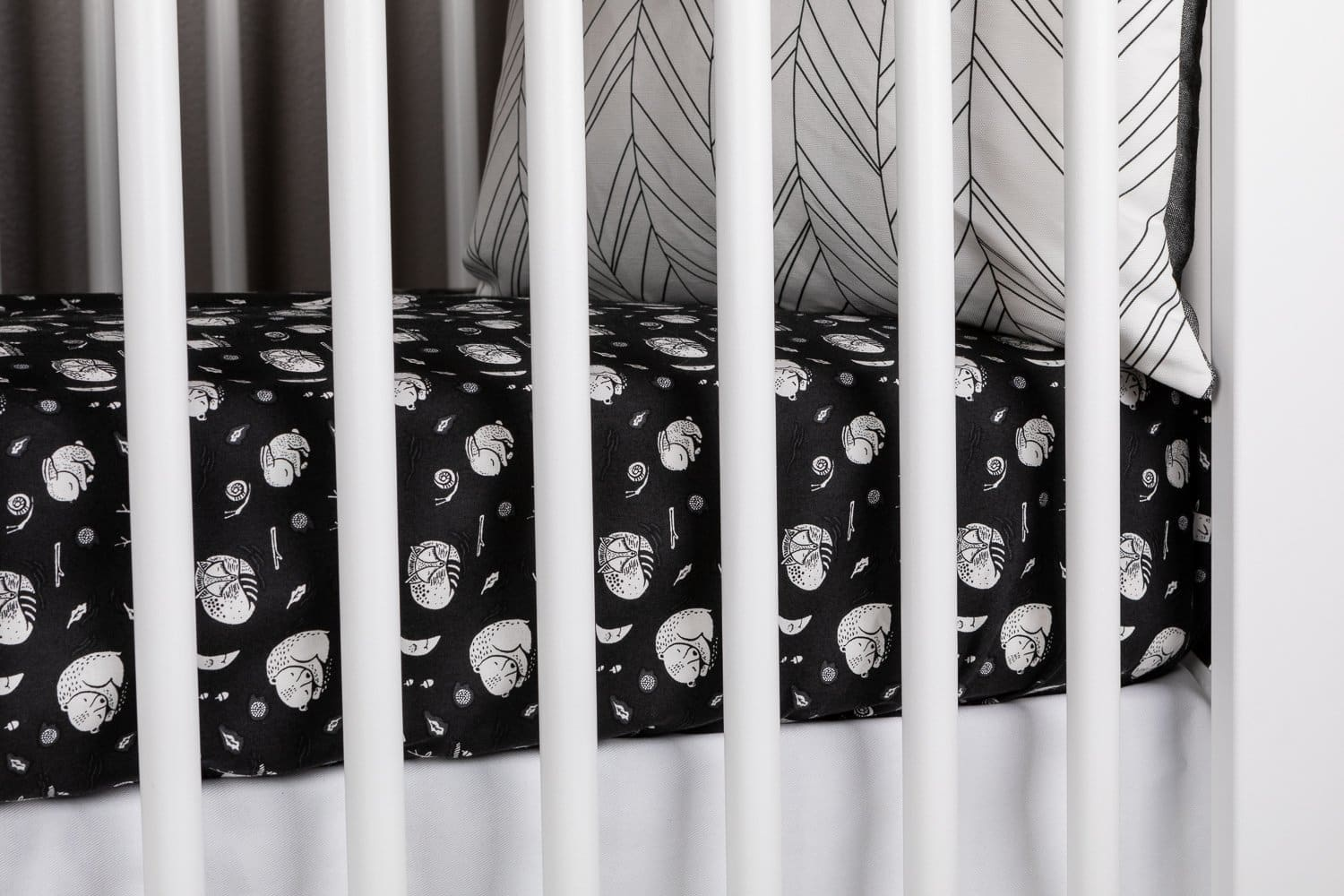 Hibernation Crib Bedding Set in Black and White-Crib Bedding Set-Jack and Jill Boutique