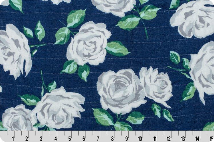 Rose Garden Embrace® Cobalt | Double Gauze Cotton-Fabric-Jack and Jill Boutique