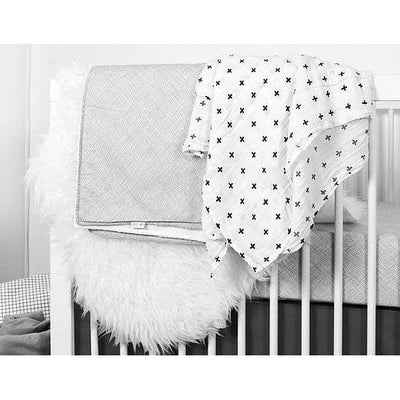 Organic Cotton Muslin Swaddle - Cross Blanket - Olli Lime-Crib Blanket-Default-Jack and Jill Boutique