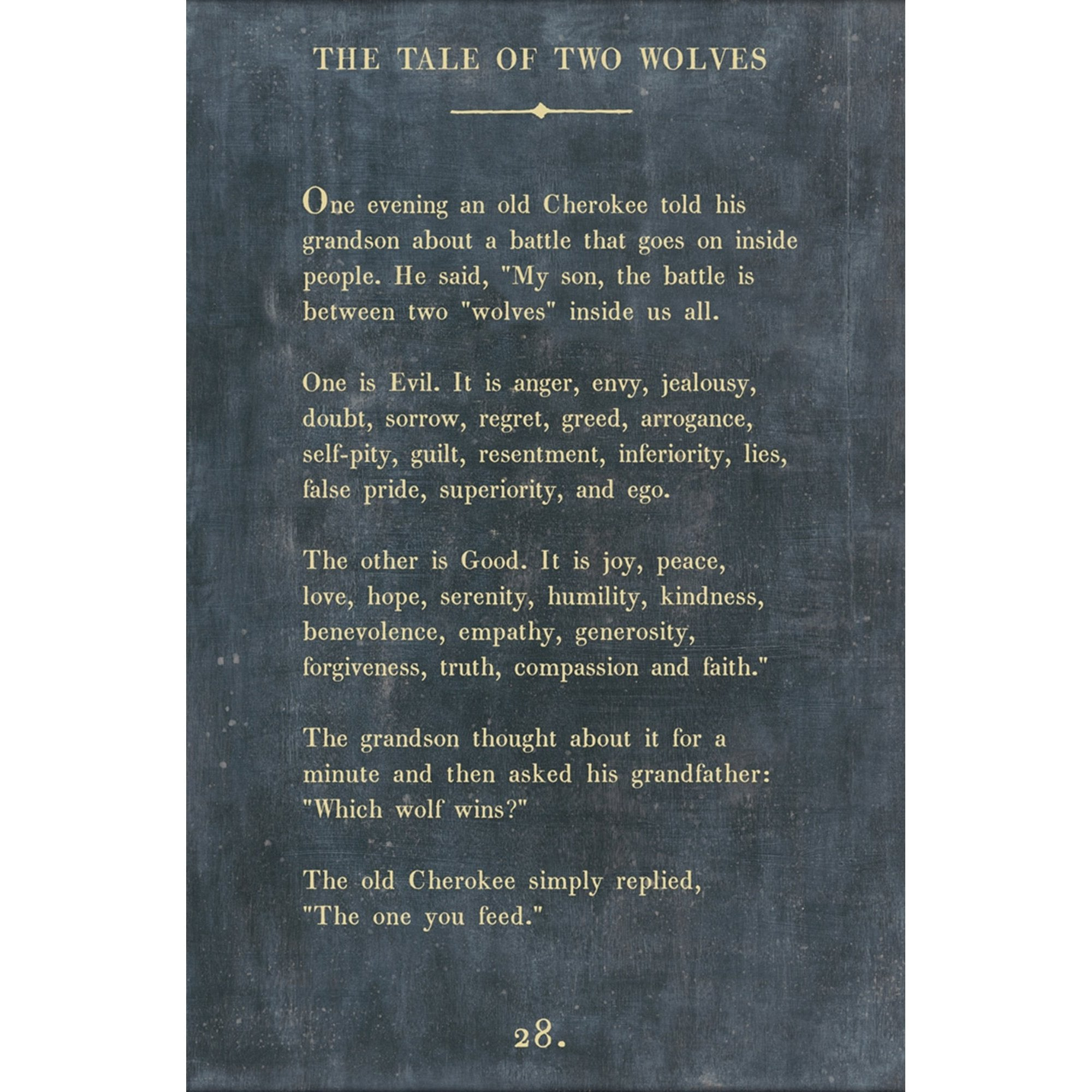 "The Tale of Two Wolves - Book Collection Art Print-Art Print-17"" x 25""-Charcoal-Grey Wood Frame-Jack and Jill Boutique"