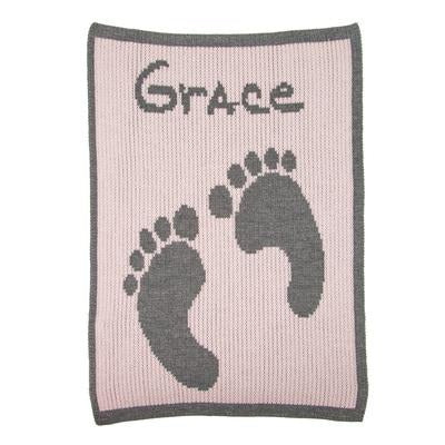 Baby Footprint & Name Personalized Stroller Blanket or Baby Blanket-Blankets-Jack and Jill Boutique