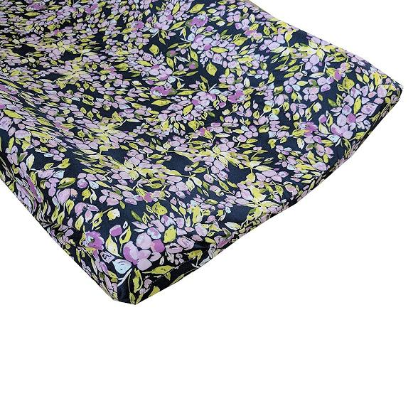 Changing Pad Cover | Bougainvillea Lilac and Navy Floral Baby Bedding-Changing Pad Cover-Jack and Jill Boutique