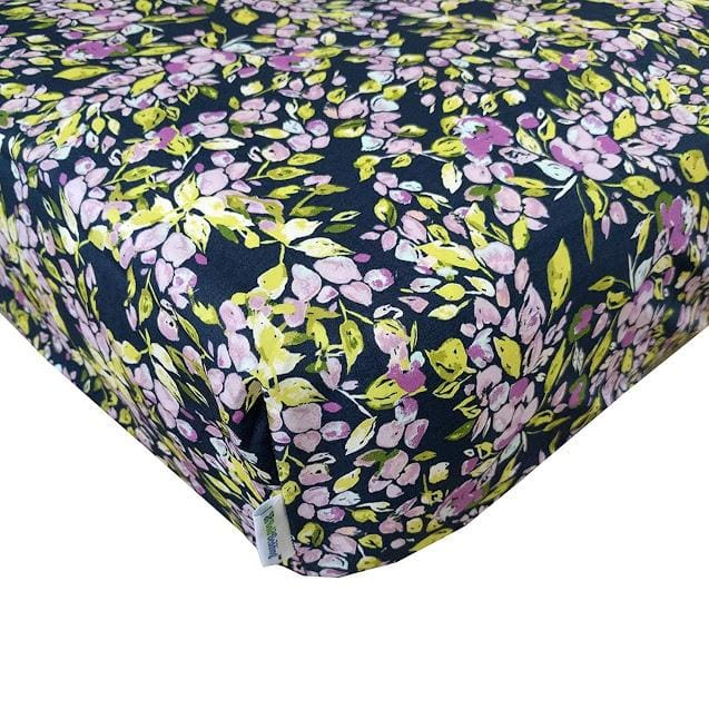 Floral Crib Sheet | Bougainvillea Lilac and Navy Floral Baby Bedding-Crib Sheets-Jack and Jill Boutique