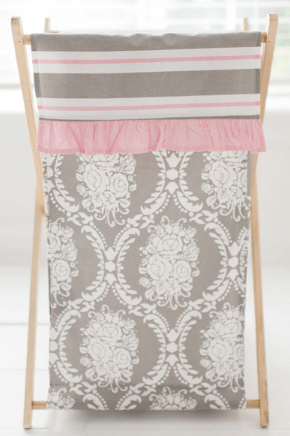 Pink and Gray Damask Nursery Hamper | Olivia Rose Crib Collection-Hamper-Jack and Jill Boutique
