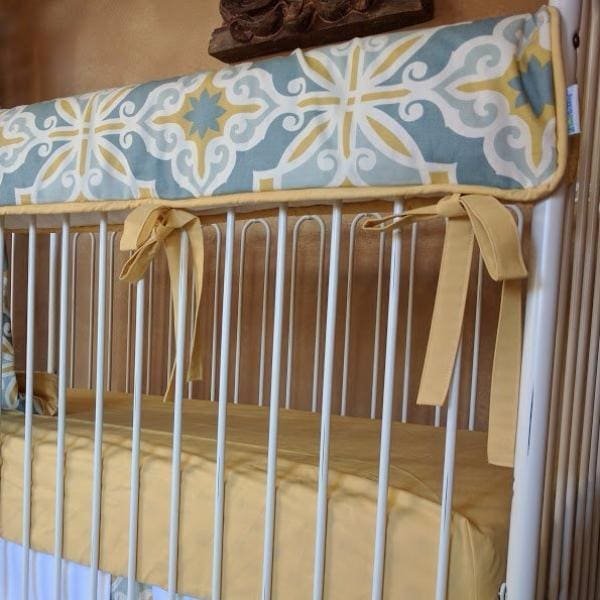 Crib Rail Cover-Jack and Jill Boutique-Railcover | Starburst in Gold Baby Bedding